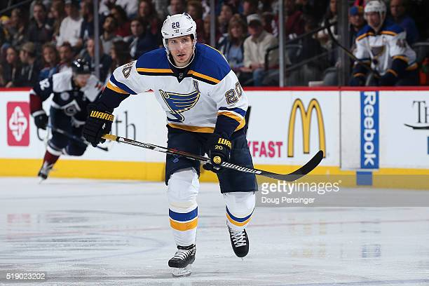 Alexander Steen of the St Louis Blues skates against the Colorado Avalanche at Pepsi Center on April 3 2016 in Denver Colorado The Blues defeated the...