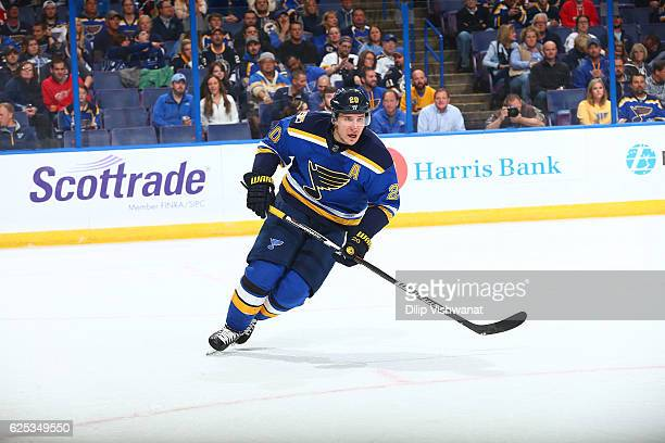 Alexander Steen of the St Louis Blues skates against the Detroit Red Wings at the Scottrade Center on October 27 2016 in St Louis Missouri