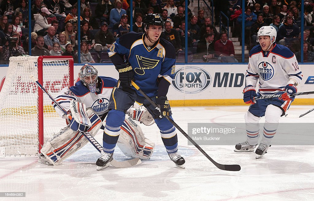 Alexander Steen #20 of the St. Louis Blues skates in front of Nikolai Khabibulin #35 of the Edmonton Oilers in an NHL game on March 26, 2013 at Scottrade Center in St. Louis, Missouri.