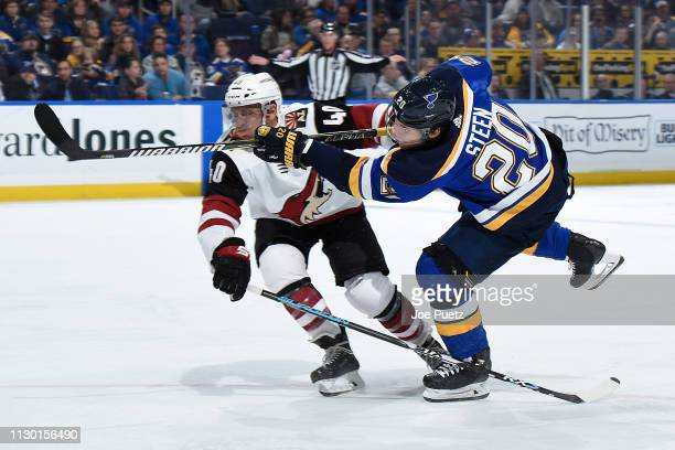 Alexander Steen of the St Louis Blues takes a shot as Michael Grabner of the Arizona Coyotes attempts to block at Enterprise Center on March 12 2019...