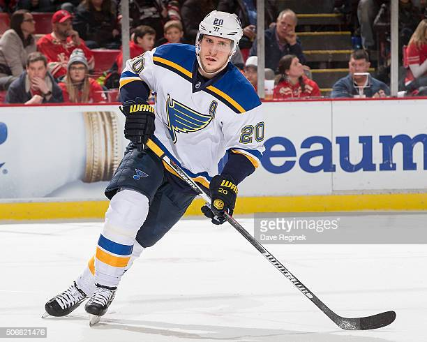 Alexander Steen of the St Louis Blues turns up ice against the Detroit Red Wings during an NHL game at Joe Louis Arena on January 20 2015 in Detroit...