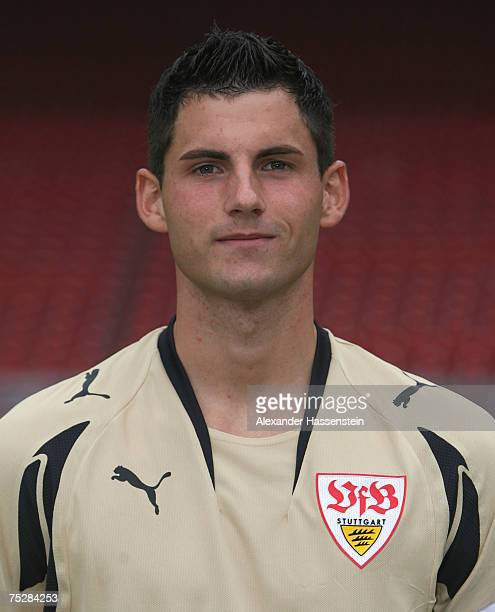 Alexander Stolz of Stuttgart poses during the Bundesliga 1st Team Presentation of VfB Stuttgart at the GottliebDaimler stadium on July 9 2007 in...