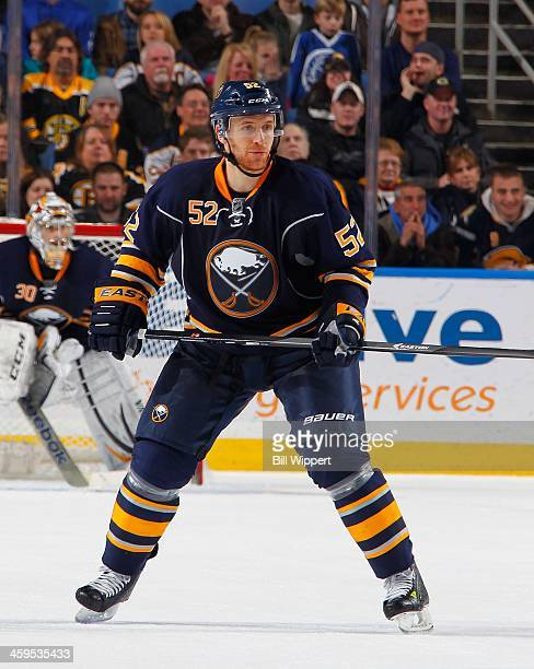 Alexander Sulzer of the Buffalo Sabres skates against the Boston Bruins on December 19 2013 at the First Niagara Center in Buffalo New York