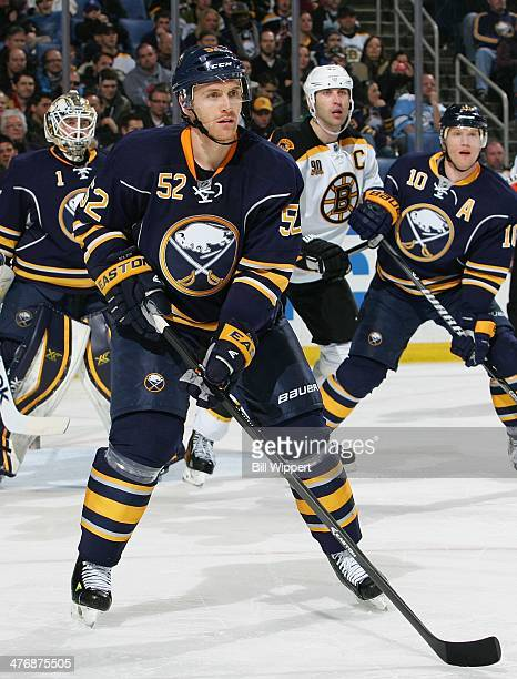 Alexander Sulzer of the Buffalo Sabres skates against the Boston Bruins on February 26 2014 at the First Niagara Center in Buffalo New York