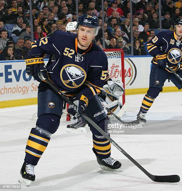 Alexander Sulzer of the Buffalo Sabres skates against the Carolina Hurricanes on February 25 2014 at the First Niagara Center in Buffalo New York