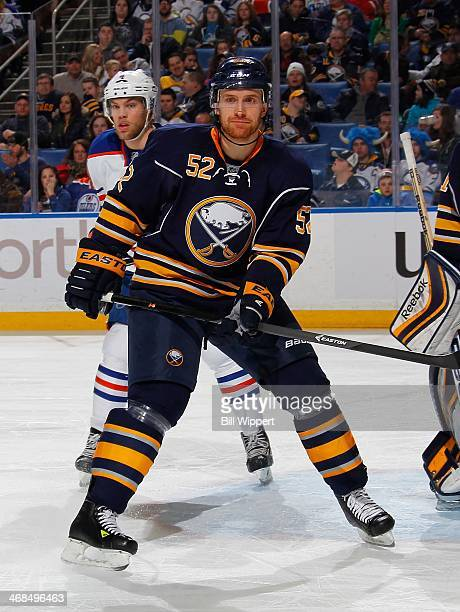 Alexander Sulzer of the Buffalo Sabres skates against the Edmonton Oilers on February 3 2014 at the First Niagara Center in Buffalo New York