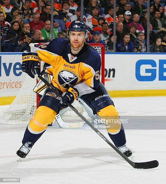 Alexander Sulzer of the Buffalo Sabres skates against the Philadelphia Flyers on January 14 2014 at the First Niagara Center in Buffalo New York