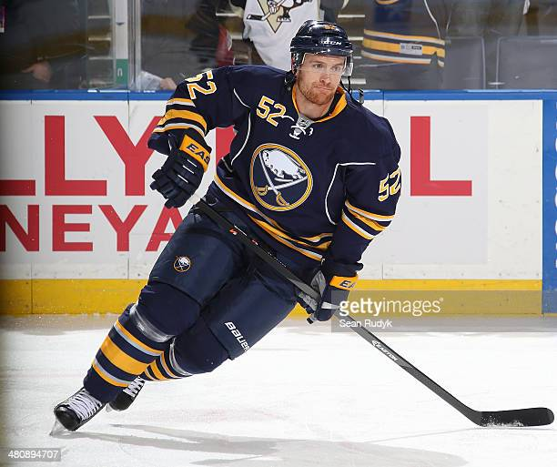 Alexander Sulzer of the Buffalo Sabres skates against the Pittsburgh Penguins at First Niagara Center on February 5 2014 in Buffalo New York