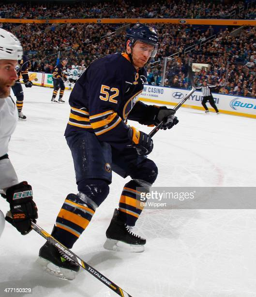 Alexander Sulzer of the Buffalo Sabres skates against the San Jose Sharks on February 28 2014 at the First Niagara Center in Buffalo New York