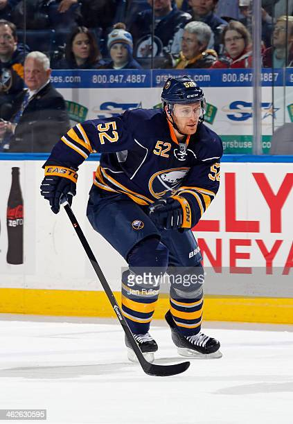 Alexander Sulzer of the Buffalo Sabres skates against the Winnipeg Jets at First Niagara Center on December 17 2013 in Buffalo New York