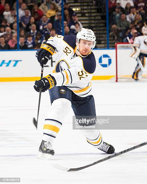 Alexander Sulzer of the Buffalo Sabres skates during the game against the Tampa Bay Lightning at the Tampa Bay Times Forum on March 6 2014 in Tampa...