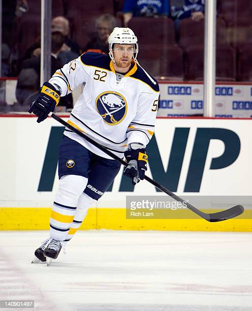 Alexander Sulzer of the Buffalo Sabres skates during the team warm up prior to NHL action against the Vancouver Canucks on March 03 2012 at Rogers...