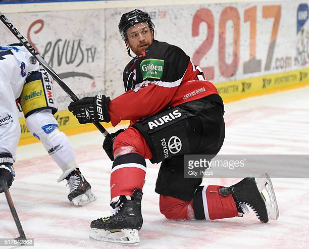 Alexander Sulzer of the Koelner Haien during the DEL playoff match between Koelner Haie and the Eisbaeren Berlin on March 26 2016 in Cologne Germany