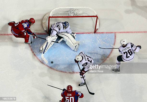Alexander Svitov of Russia fails to score over Ben Bishop , goaltender of USA during the IIHF World Championship group H match between Russia and USA...