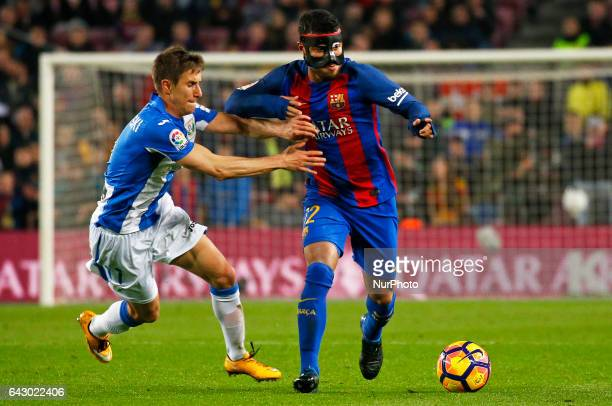 Alexander Szymanowski and Rafinha Alcantara during La Liga match between FC Barcelona v CD Leganes in Barcelona on February 19 2017