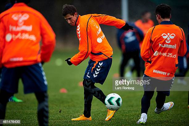 Alexander Szymanowski of Brondby IF controls the ball during the Brondby IF first training session of the year at Brondby Stadion on January 12 2015...
