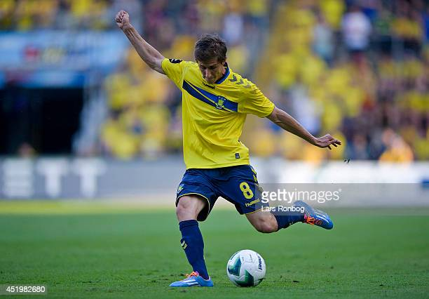 Alexander Szymanowski of Brondby IF controls the ball during the PreSeason Friendly match between Brondby IF and Bolton Wanderers on Brondby Stadion...