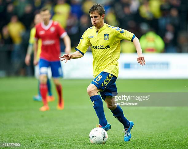Alexander Szymanowski of Brondby IF controls the ball during the Danish Alka Superliga match between Brondby IF and FC Vestsjalland at Brondby...