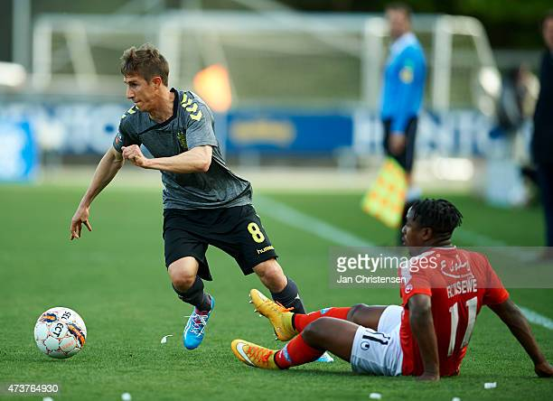 Alexander Szymanowski of Brondby IF controls the ball during the Danish Alka Superliga match between Silkeborg IF and Brondby IF at Mascot Park...
