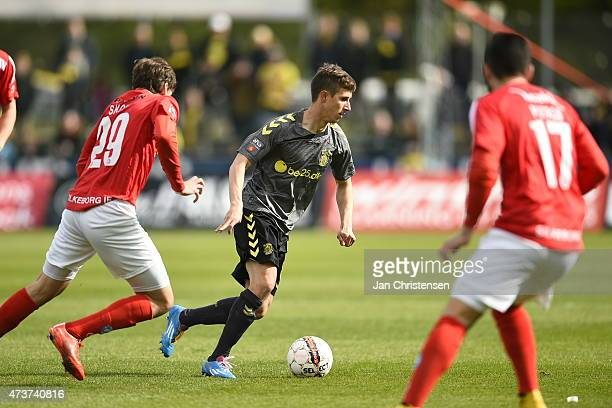 Alexander Szymanowski of Brondby IF in action during the Danish Alka Superliga match between Silkeborg IF and Brondby IF at Mascot Park Silkeborg on...