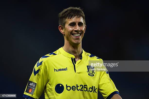 Alexander Szymanowski of Brondby IF looks happy during the Danish Alka Superliga match between Brondby IF and FC Nordsjalland at Brondby Stadion on...