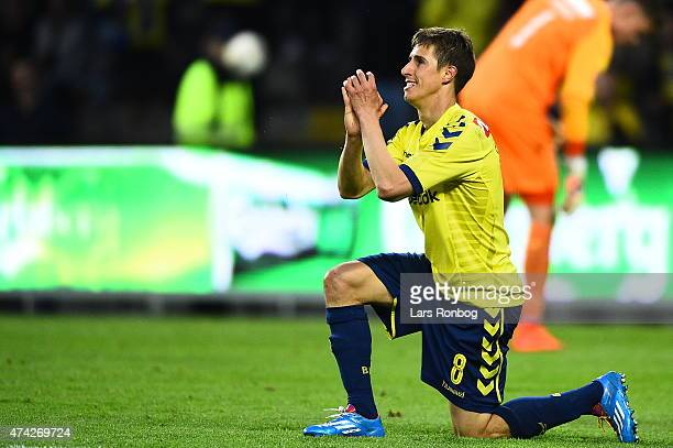 Alexander Szymanowski of Brondby IF shows frustration during the Danish Alka Superliga match between Brondby IF and FC Nordsjalland at Brondby...