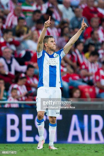 Alexander Szymanowski of Club Deportivo Leganes celebrates after scoring goal during the La Liga match between Athletic Club Bilbao and Club...
