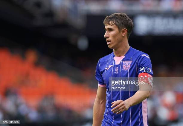 Alexander Szymanowski of Club Deportivo Leganes during the La Liga match between Valencia CF and Club Deportivo Leganes at Estadio Mestalla on...
