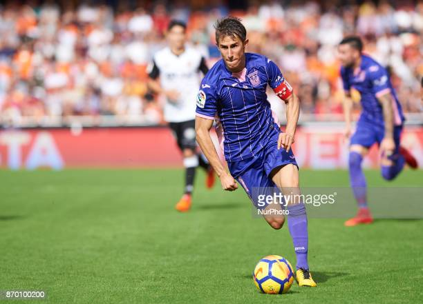 Alexander Szymanowski of Club Deportivo Leganes in action during the La Liga match between Valencia CF and Club Deportivo Leganes at Estadio Mestalla...