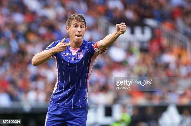 Alexander Szymanowski of Club Deportivo Leganes reacts during the La Liga match between Valencia CF and Club Deportivo Leganes at Estadio Mestalla on...