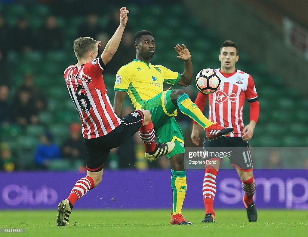 Alexander Tettey of Norwich City and James Ward-Prowse of Southampton compete for the ball during the Emirates FA Cup Third Round match between Norwich City and Southampton at Carrow Road on January 7, 2017 in Norwich, England.