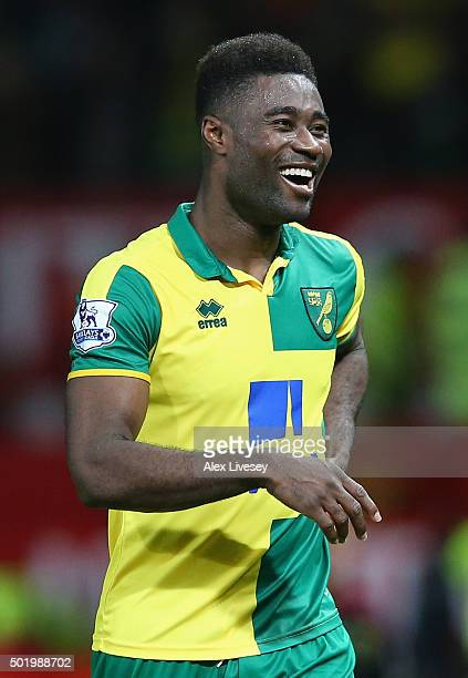 Alexander Tettey of Norwich City celebrates his team's 21 win in the Barclays Premier League match between Manchester United and Norwich City at Old...