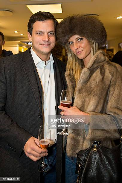 Alexander Tewaag and Valentina Henkel at the Witty Knitters party on January 3 2015 in Kitzbuehel Austria