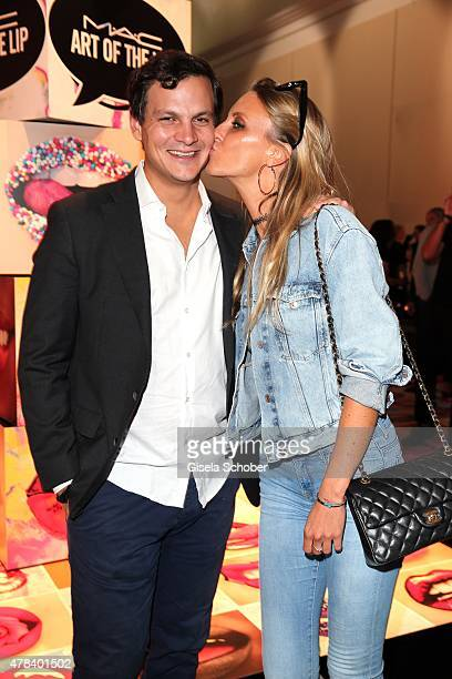 Alexander Tewaag son of Uschi Glas and his girlfriend Valentina Henkel during the presentation of 'Art of the Lip' by MAC Cosmetics at Haus der Kunst...