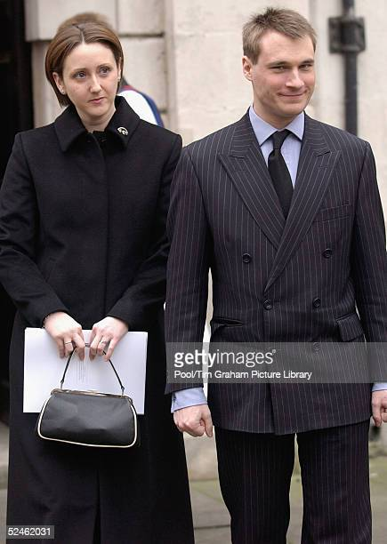 Alexander the Earl of Ulster and his wife Clare the Countess of Ulster attend the memorial service for HRH Princess Alice at St Clement Danes on...