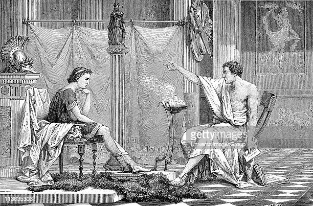 Alexander the Great 356323 BC 356323 BC as a youth listening to his tutor Aristotle Artist's reconstruction c1875 Wood engraving