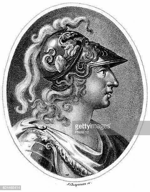 Alexander the Great 356323 BC Romanticised portrayal of Alexander in plumed helmet C1800 Stipple engraving London