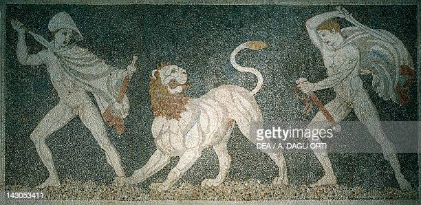 Alexander the Great and Hephaestion during a lion hunt ca 320 BC mosaic from the peristyle house 1 Room C Pella Greece 4th Century BC Pella Museum