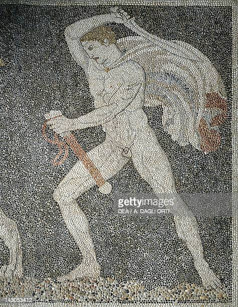 Alexander the Great and Hephaestion during a lion hunt ca 320 BC mosaic from the peristyle house 1 Room C Pella Greece Detail showing Hephaestion 4th...