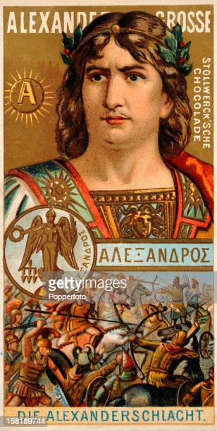 Alexander the Great featured on a German trade card published circa 1900 Alexander was born in Pella the ancient capital of Macedonia in July 356 BC...