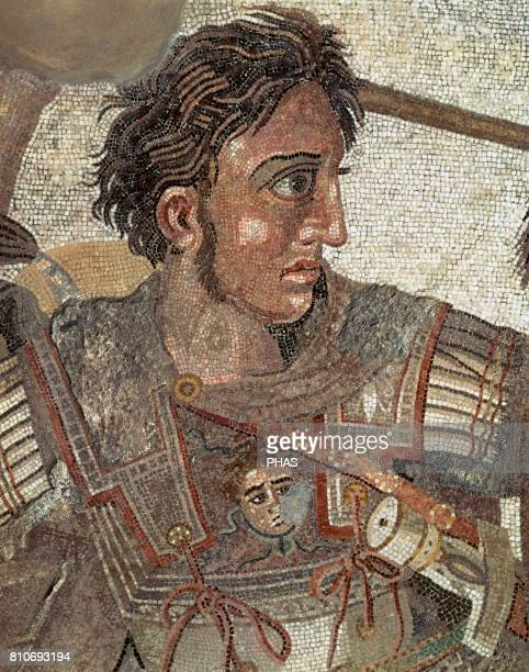Alexander the Great King of Macedonia Alexander the Great in the Battle of Isos Roman mosaic from The House of Faun Detail Archaelogical Museum of...