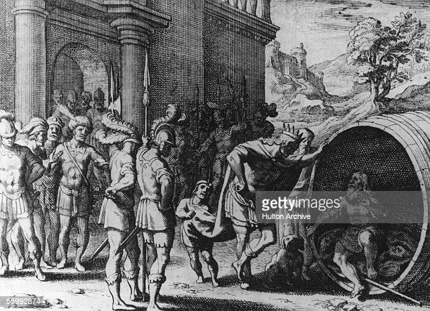 Alexander the Great meets the Greek philosopher Diogenes of Sinope known as 'the Cynic' circa 335 BC Diogenes lived a life of extreme asceticism in a...