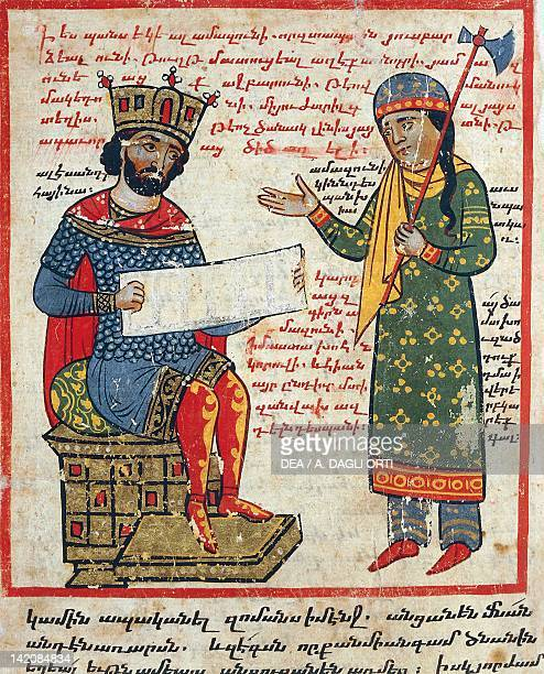 Alexander the Great receives Darius's message miniature from the The History of Alexander the Great by PseudoCallisthenes Parchment Codex by the...