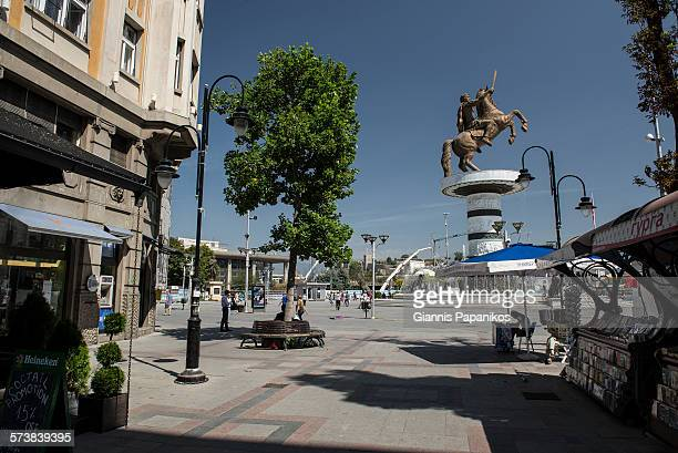 alexander the great statue in skopje city - skopje stock pictures, royalty-free photos & images