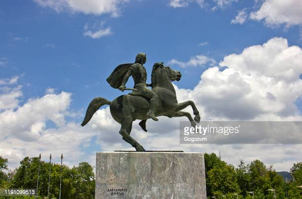 alexander the great statue - thessaloniki stock pictures, royalty-free photos & images