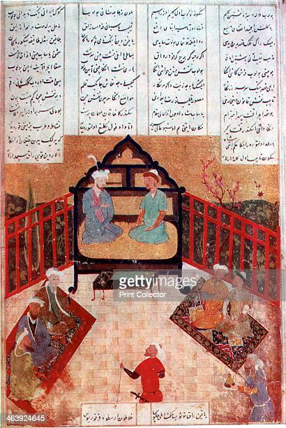 Alexander the Great talking to wise men and scholars 4th century BC Illustration after a Persian manuscript made in the Middle Ages or later The...