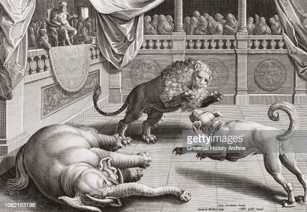 Alexander the Great watching animals fight 16th century engraving after a work by Jan van der Straet 1523 1605 Also known as Giovanni Stradano van...