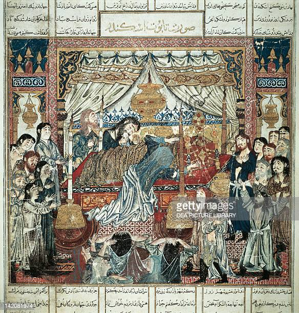 Alexander the Great's coffin miniature by ShahNameDemotte from an Arabic manuscript