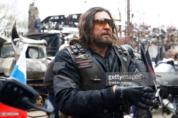 Alexander 'The Surgeon' Zaldostanov President of the Night Wolves motorcycle club attends a ceremony to open a new motorcycling season at the Sexton...