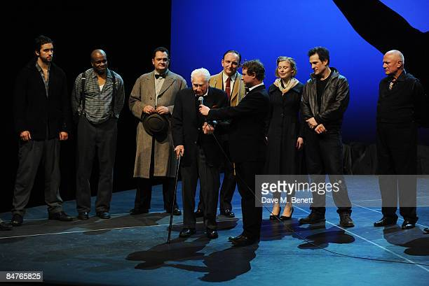Alexander Thomas Alex Giannini Budd Schulberg Antony Byrne Bryony Afferson Simon Merrells and Steven Berkoff pose on stage during the press night of...